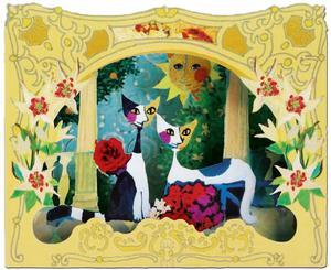 3D-vykort Två katter och blommor