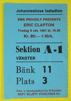 ERIC CLAPTON - Stockholm 1981
