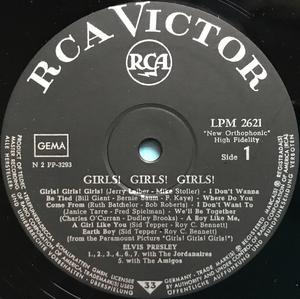 ELVIS PRESLEY - Girls! Girls! Girls! Tysk LP 1962