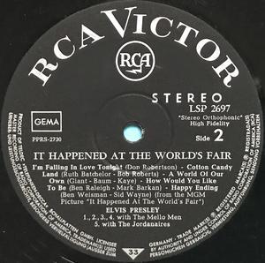 ELVIS PRESLEY - It happened at the world´s fair Tysk LP 1963