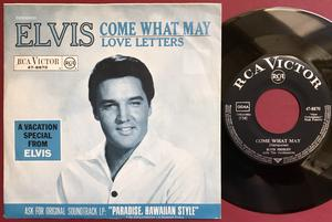 """ELVIS PRESLEY - Come what may 7"""" Ger PS 1966"""