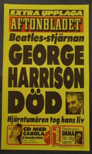 DAYBILL AFTONBLADET (GEORGE HARRISON DEAD)