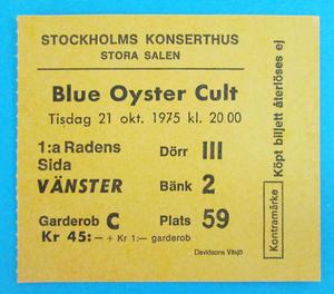 BLUE OYSTER CULT - Stockholm 1975