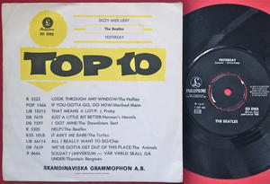 """BEATLES - Dizzy miss Lizzy 7"""" English credits 1965 Swe PS 1965"""