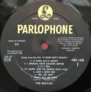 BEATLES - A hard day´s night Svensk-orig LP 1964