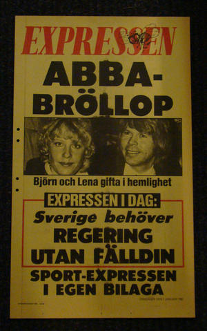 EXPRESSEN LÖPSEDEL (ABBA BRÖLLOP)