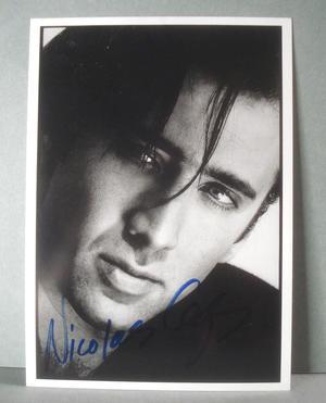 NICOLAS CAGE Äkta autograf på vykort !