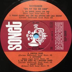 NOVEMBER - En ny tid är här Swe-orig LP 1970