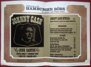JOHNNY CASH - Concert program Hamburger börs Stockholm 197