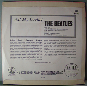 BEATLES - All my loving +3 UK EP 1963