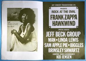 HAWKWIND Zappa JEFF BECK Brinsley Schwarz MAN Sam Apple pie LINDA LEWIS - Rock at the Oval konsertprogram 1972