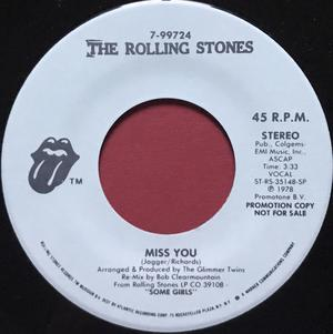 ROLLING STONES -  Miss you US PROMO 45 1983