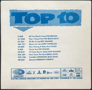 """BEATLES - All you need is love 7"""" H. HERMITS toplist Swe-67 PS ONLY - Archive copy / MINT-!"""