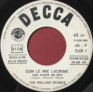 ROLLING STONES - Con le mie lacrime / Talkin´ bout you Italien Jukebox PROMO 45  1966