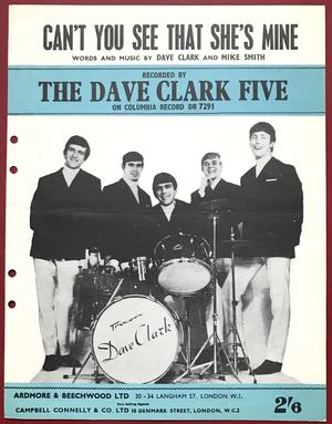 DAVE CLARK FIVE - Can´t you see that..  US Sheet music 1965