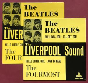 BEATLES - Liverpool sound Pale yellow PS/Black label Swe EP 1963