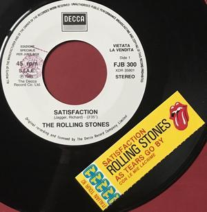 ROLLING STONES - Satisfaction / Con le mie lacrime Italy Jukebox PROMO 45 1982
