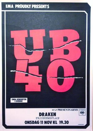 UB40 (ca 1980) Konsertaffisch