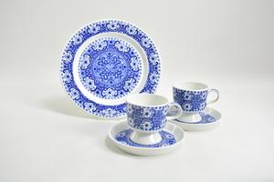 Kaffekoppar och fat, 2 st och frukost fat, Ali, blå, RU