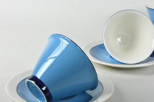 Kaffekoppar och fat, 3 st,  Harlekin, Turkos, IL (SÅLD)