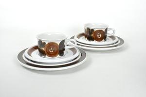 Mokka-espressokupit, alusvadit ja asetit, 6 osaa, Rosmarin, käsinmaalattu, UP