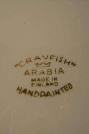 Lautanen, Crayfish,  Käsinmaalattu