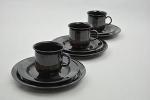 Kaffekoppar+assietter, 3 st, Aurora Borealis, IL