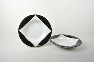 Tallrikar 2 st,  djup, förrätt/dessert, Quattro Nero, BW