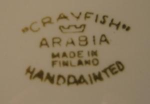 Tarjoiluautanen, iso, Crayfish, Käsinmaalattu