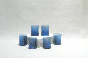 Glas 6 st, snaps, I-104, blå