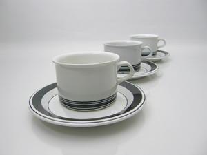 Teekupit, 3 kpl, Faenza mustaraita, PW  (MYYTY)