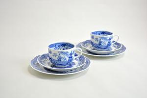 Kaffekoppar, fat och assiett, 2 st, Singapore, blå