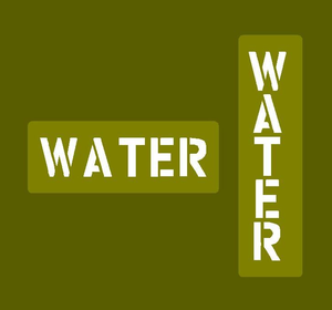 """Jerry can water stencil """"WATER"""""""
