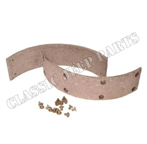 Brake shoe lining with rivets emergency brake late