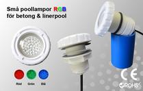 Små Poollampor Betongpool & Linerpool Valfri RGB-kontroller