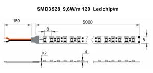 Ledtejp SMD3528 9,6W/m Vit Ljusfärg Svart PCB