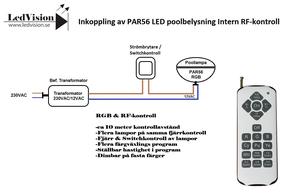 Poollampa PAR56 HighPower Inbyggd RGB & RF-Kontroller Rostfritt lamphus