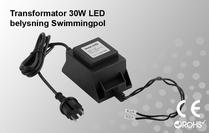 Skyddstransformator 230VAC/12VAC 30W Poolbelysning