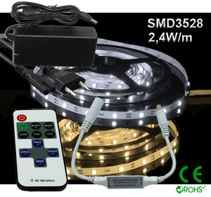 Ledtejp Dimbart Microkontroller Kit SMD3528 2,4W/m Varmvit, Vit el. Kallvit