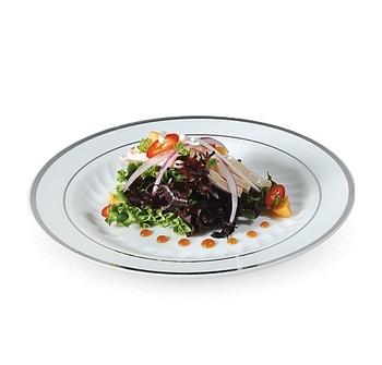 Rund assiett med silverkant. 10 st