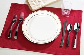 Rund middagstallrik med silverkant. 10 st.