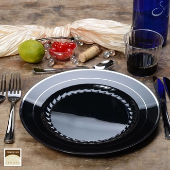 Round Black dinner plate with silver edge. 10 pieces