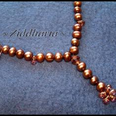 L5:143nn SteamPunk- GuldNougat Brons - Swarovski Bronze FreshwaterPearls Glass Copper Drops Necklaces - Halsband med bronsfärgade Sötvattenspärlor och Lustre Copper TearDrops - hänge - Halsband