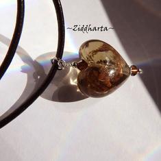 L4:134nn HALSREM - Bronze Heart GS - SteamPunk Necklaces / Halsband: Swarovski Crystals Dark Topaz LampWork GoldSand: Välj själv typ av HALSREM!
