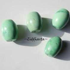 Focal Bead /Centerpiece: Oval LimeGreen Chalk Turquoise