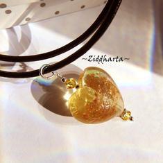 AmberGolden Heart Herz Necklace Lampwork Hjärta Swarovski Crystals Light Topaz Necklace LampWork Goldsand- Handmade Jewelry by Ziddharta