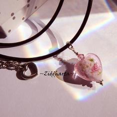 ROSE Heart Herz Necklace PINK Lampwork Hjärta Swarovski Crystals ROSE Necklace LampWork Goldsand - Handmade Jewelry Necklaces by Ziddharta