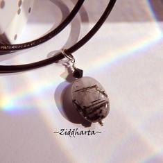 Black banded Quartz Necklace Stone handmade Pendant Necklace Halskette Kragen Halsband Swarovski Necklace - Jewelry Necklaces by Ziddharta