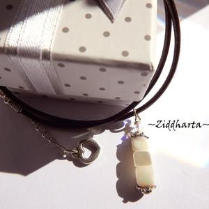 White Mother of Pearl Pendant Necklace Handmade MOP Swarovski Crystals Moonshine pendant Necklace - Cord Jewelry Necklaces by Ziddharta