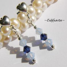 1 par Hjärte Örhängen Swarovski Crystals: AirBlue Dk Indigo